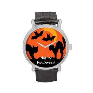 Pelea de gatos de Halloween del gato negro Relojes De Pulsera