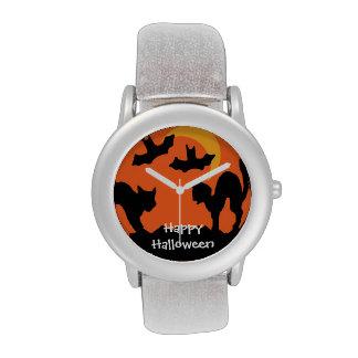 Pelea de gatos de Halloween del gato negro Relojes De Mano