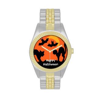 Pelea de gatos de Halloween del gato negro Reloj De Mano