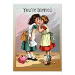 Pelea de la muñeca de las niñas del vintage invitacion personal