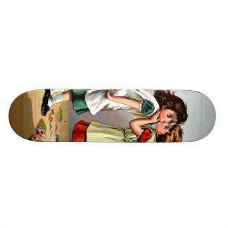 Pelea de la muñeca de las niñas del vintage tabla de patinar