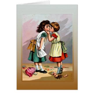 Pelea de la muñeca de las niñas del vintage tarjeta de felicitación