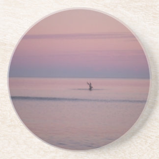Pelican and Sunset sky at Sullivan's Island Drink Coaster