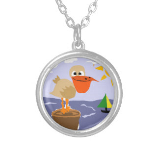 Pelican at the Beach Art Silver Plated Necklace