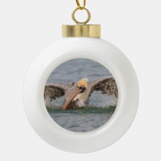 Pelican Bath Time Ceramic Ball Christmas Ornament