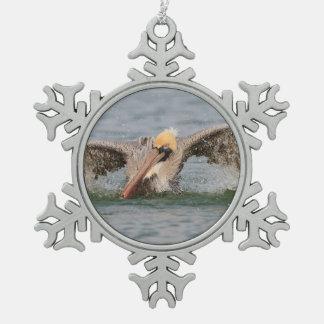 Pelican Bath Time Snowflake Pewter Christmas Ornament