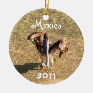 Pelican Bathtime; Mexico Souvenir Ceramic Ornament
