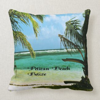 Pelican Beach Belize Throw Pillow