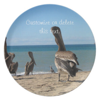 Pelican Beach Bums; Customizable Party Plate