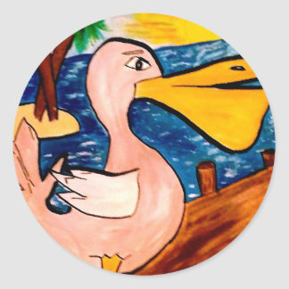 Pelican Beach Painting Classic Round Sticker