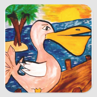 Pelican Beach Painting Square Sticker