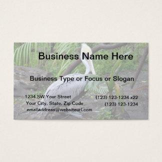 pelican behind plant c bird design business card