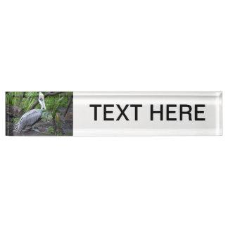 pelican behind plant c bird design nameplates
