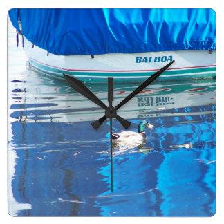 Pelican Birds Sailboats Boats Harbor Ocean Sea Square Wall Clock