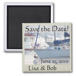 Pelican Birds Sailboats Harbor Sea Save the Date Magnet