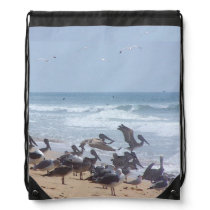 Pelican Birds Wildlife Animals Beach Ocean Drawstring Bag
