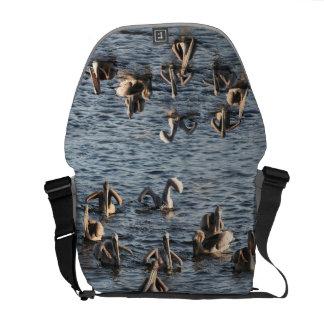 Pelican Birds Wildlife Animals Beach Ocean Messenger Bag