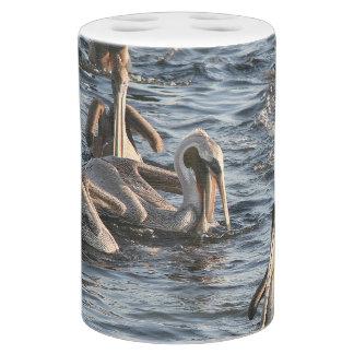 Pelican Birds Wildlife Animals Beach Ocean Soap Dispenser And Toothbrush Holder