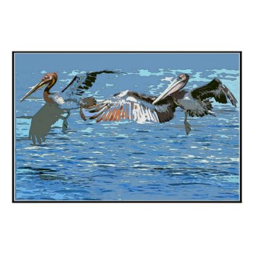 Beach Themed Pelican Birds Wildlife Animals Poster