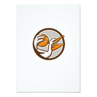 Pelican Dunking Basketball Circle Retro Card