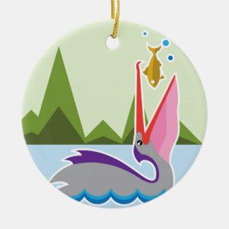 Pelican Eats Fish Ceramic Ornament