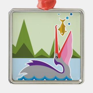 Pelican Eats Fish Metal Ornament