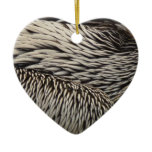 Pelican Feathers Grey Nature Photo Ceramic Ornament