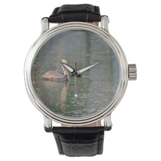 pelican floating in river colorful reflections wristwatch