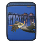 Pelican flying with tropical pier in background Ri iPad Sleeves