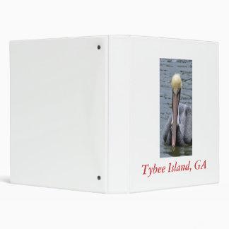 Pelican Front closeup, Tybee Island, GA 3 Ring Binder