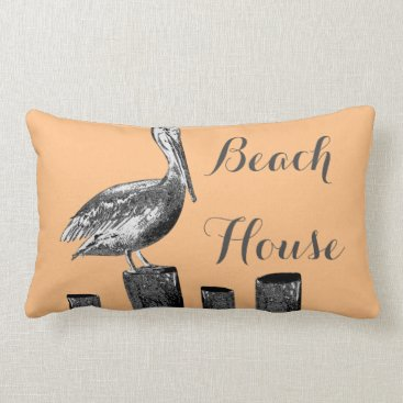 GrudaHomeDecor Pelican Illustration Beach House Lumbar Pillow