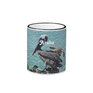Pelican in Aruba Ringer Coffee Mug