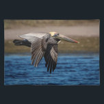 "Pelican in flight cloth placemat<br><div class=""desc"">A brown pelican in flight on the North Beach of the Fort De Soto Park in St. Petersburg,  Florida. This image was taken on the North Beach by Debbie Quick of Debs Creative Images. To see more photography by Debbie,  check out her website at: www.debscreativeimages.com</div>"