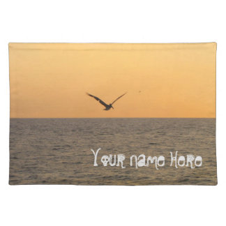 Pelican in Flight; Customizable Cloth Placemat