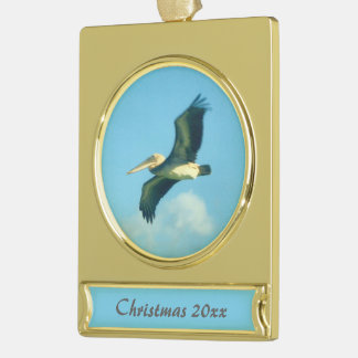 Pelican in Flight Dated Gold Plated Banner Ornament