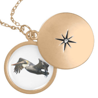 Pelican in Flight Locket Necklace