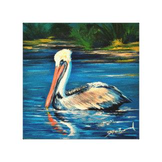 "Pelican in the marsh 10"" x 10"" canvas print"