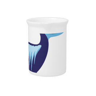 Pelican Isolated with Fish Drink Pitchers