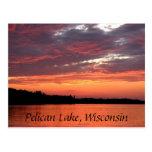 Pelican Lake Sunset, Wisconsin Postcard