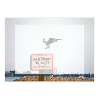 pelican landing on channel sign in florida 5x7 paper invitation card