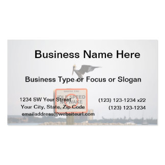 pelican landing on channel sign in florida business card