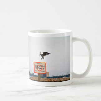 pelican landing on channel sign in florida classic white coffee mug