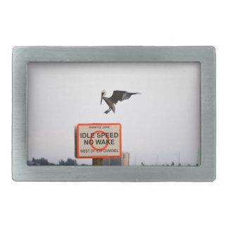 pelican landing on channel sign in florida rectangular belt buckle