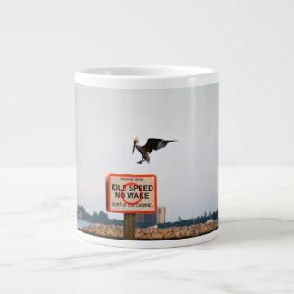 pelican landing on channel sign in florida 20 oz large ceramic coffee mug