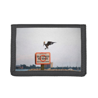 pelican landing on channel sign in florida trifold wallet