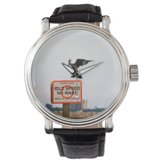 pelican landing on channel sign in florida wrist watch