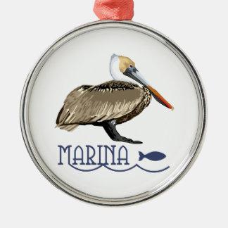 Pelican Marina Metal Ornament