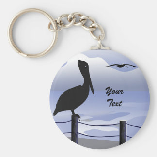 Pelican Ocean Shoreline Custom Keychain