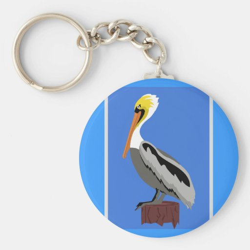 Pelican on a Piling Basic Round Button Keychain