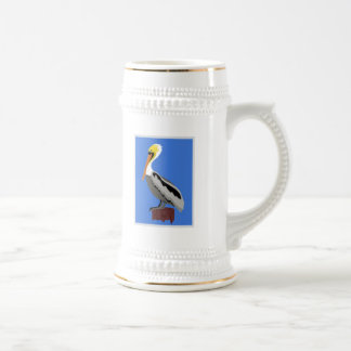 Pelican on a Piling Beer Stein